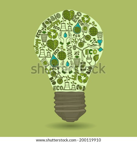 Lightbulb with sketch ecology and waste icons inside isolated on green background vector illustration - stock vector