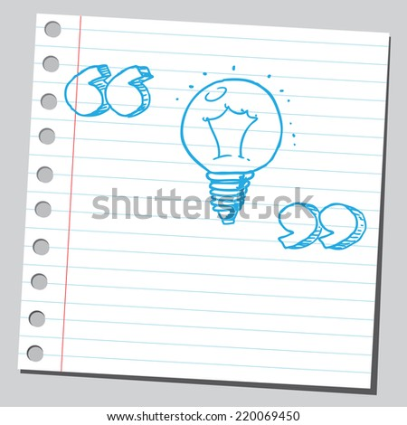 Lightbulb with speech quotes - stock vector