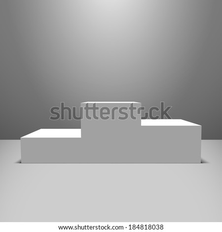 Lightened white vector pedestal on the empty stage - stock vector
