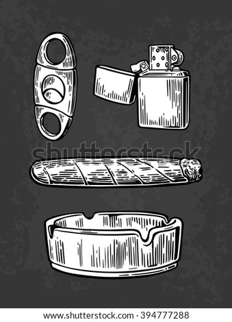 Lighter, cigar, ashtray,  guillotines for cigars. Set of vintage smoking tobacco elements. Vector vintage engraved black illustration isolated on dark background. - stock vector
