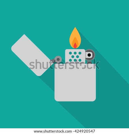 Lighter icon vector illustration. Flat icon isolated with long shadow.