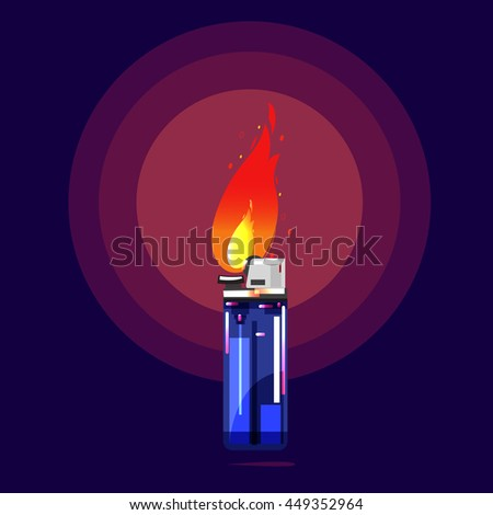 lighter with fire glowing in the darkness. burning matches - Motivation, creativity, inspiration, success, faith and belief concept - vector illustration - stock vector