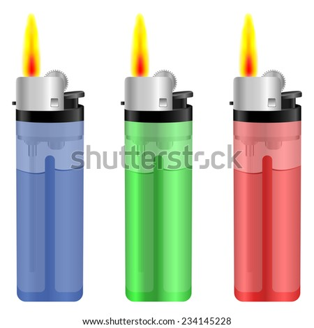 Lighter with fire set on white background. - stock vector