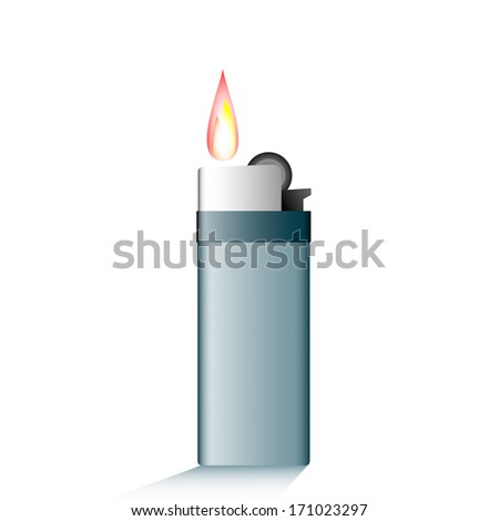 Lighter with fire. Vector