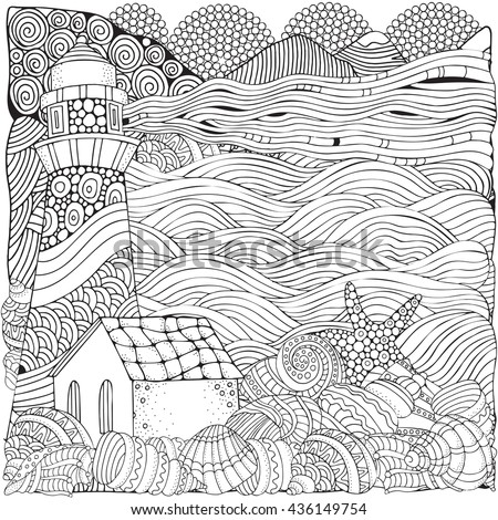 Lighthouse and shells, seascape. Coloring book page for adult. Waves, sea, art background. Pattern for coloring book. Hand-drawn, doodle, vector, zentangle, tribal design elements.  - stock vector