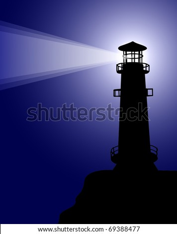 lighthouse at night - stock vector