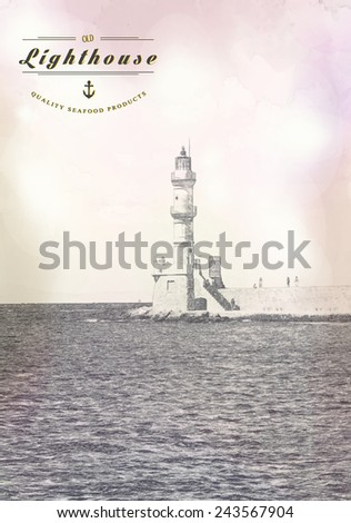 Lighthouse drawn vector illustration, quality seafood products - stock vector