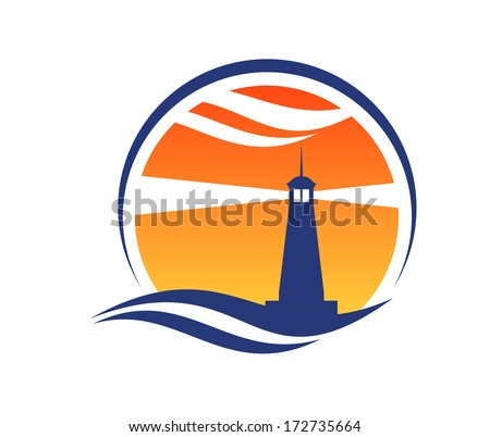 Lighthouse icon at sunset with beams of light shining through an orange sky from a silhouetted lighthouse with an ocean wave below - stock vector