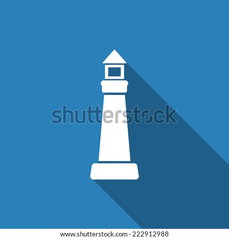 lighthouse icon with long shadow - stock vector