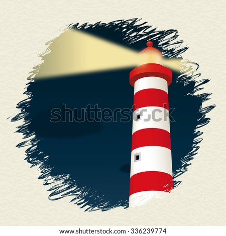 Lighthouse in the night. Vector illustration - stock vector