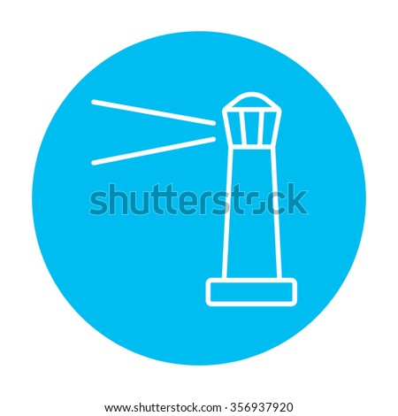 Lighthouse line icon for web, mobile and infographics. Vector white icon on the light blue circle isolated on white background. - stock vector
