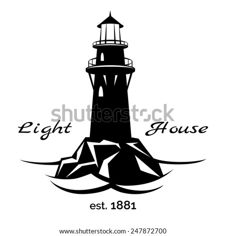 Lighthouse logo for for maritime companies, corporations and businesses on maritime transport - stock vector