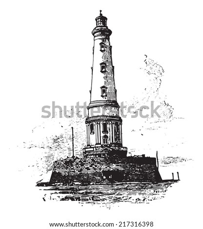 Lighthouse of Cordouan, vintage engraved illustration. Dictionary of words and things - Larive and Fleury - 1895. - stock vector
