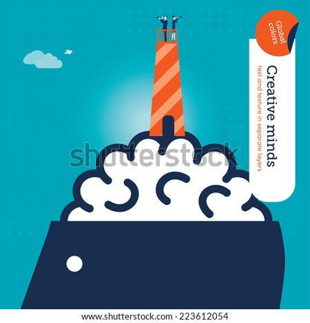Lighthouse on a brain with man and woman. Vector illustration Eps10 file. Global colors. Text and Texture in separate layers. - stock vector