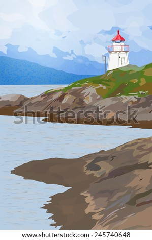 Lighthouse on fjord coast in Norway. EPS 10 format. - stock vector
