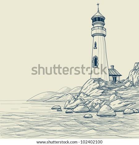 Lighthouse on seashore vector sketch - stock vector