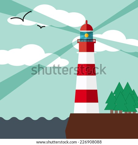Lighthouse on the rock with seagulls. Vector illustration in flat style. - stock vector