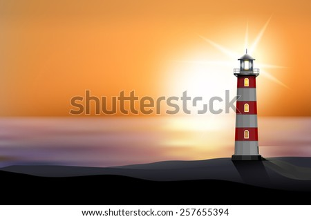 Lighthouse on the seashore at sunset - vector illustration - stock vector