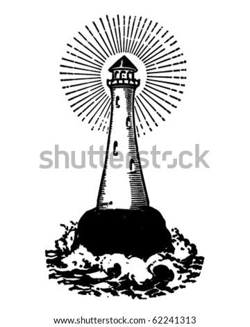 Lighthouse - Retro Clipart Illustration - stock vector