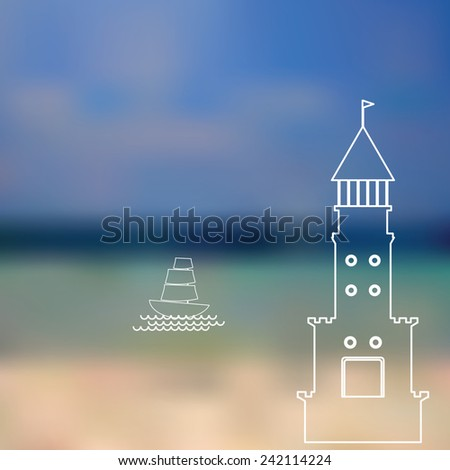 lighthouse, sailboat, island, ocean on seascape background Vector illustration - stock vector