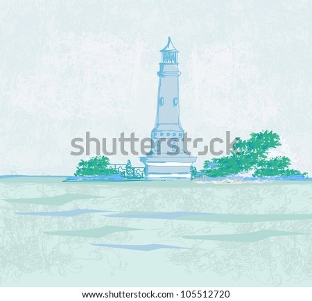 lighthouse seen from a tiny beach - Grunge Poster - stock vector