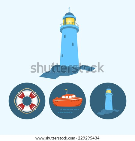 Lighthouse. Set with 3 round colorful icons, orange boat with a flag and waves, lifebuoy , lighthouse,  vector illustration - stock vector