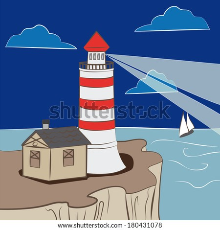 lighthouse showing the way for sailboat - stock vector