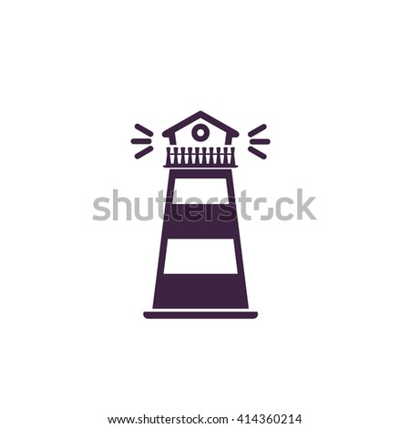 Lighthouse Simple flat blue vector icon on white background - stock vector