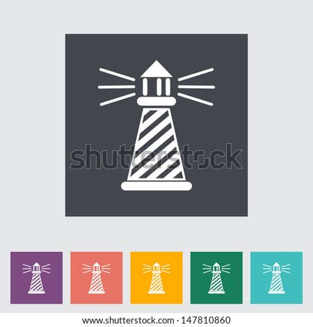 Lighthouse. Single flat icon. Vector illustration. - stock vector