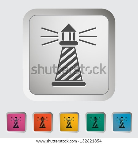 Lighthouse. Single icon. Vector illustration. - stock vector