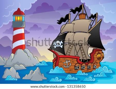Lighthouse theme image 3 - eps10 vector illustration. - stock vector