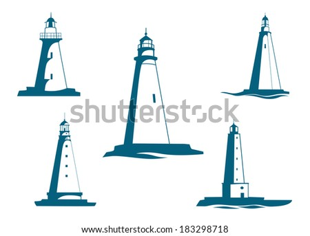 Lighthouse towers symbols for navigation and safety logo concept design - stock vector