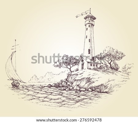 Lighthouse vector drawing, seascape and sailboat at sea, travel background - stock vector