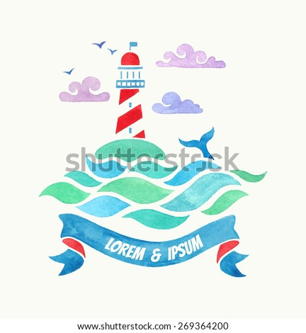 lighthouse. watercolor illustration - stock vector