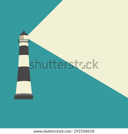 Lighthouse with blue background - stock vector
