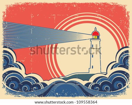 Lighthouse with blue sea.Vector grunge background for design of symbol card - stock vector