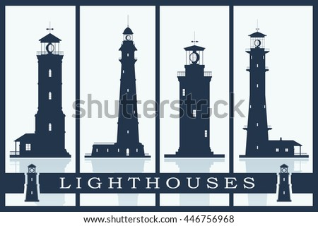 Lighthouses vector set. Silhouettes of large lighthouses over blue background. Vector illustration. - stock vector