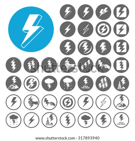 Lighting Bolt icons set. Illustration EPS10 - stock vector
