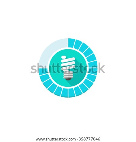 Lighting Control Icon Vector Flat Symbol With Energy Saving Bulb, Lamp  Light Technology System Pictogram