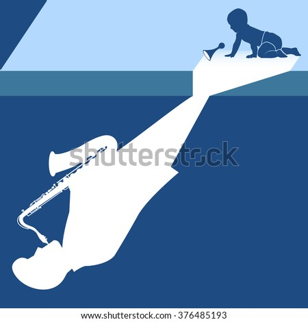 Lighting on the stage make the shadow of a baby to be the musician who is playing saxophone on the ground.