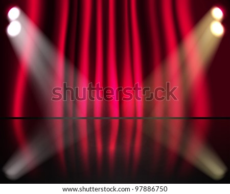 Lighting stage with red curtains - stock vector