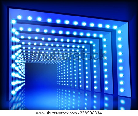 Lighting Tunnel. Vector illustration. - stock vector
