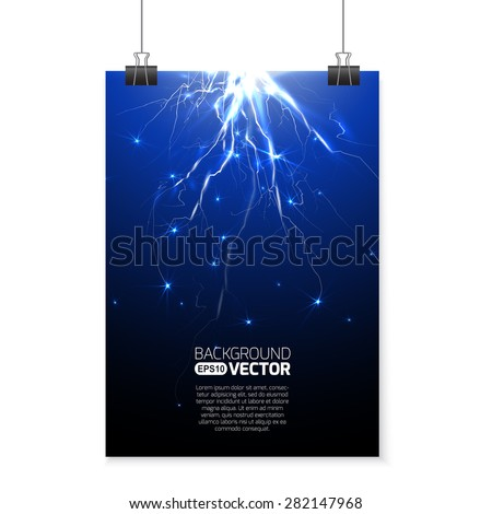 Lightning and electricity discharge - stock vector