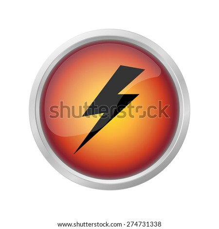 lightning and electricity icon on  red button - stock vector