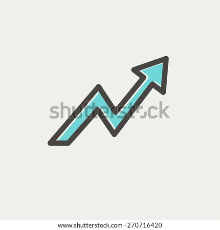 Lightning arrow upward icon thin line for web and mobile, modern minimalistic flat design. Vector icon with dark grey outline and offset colour on light grey background. - stock vector