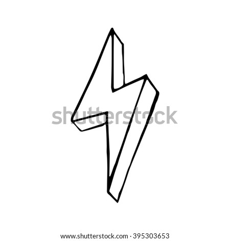 Lightning bolt hand drawn, vector doodle illustration for design