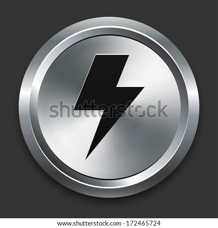 Lightning Bolt Icon on Metallic Button Collection - stock vector