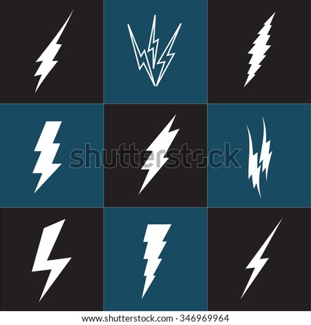 Lightning Bolt icon. Set of black icons storm lightning. Thunderbolt silhouettes. Set of Thunder Lighting Icons. Lightning bolt vector. Lightning strike icon. Easy to use. - stock vector