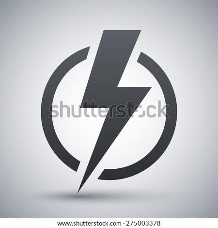 Lightning bolt icon, vector - stock vector