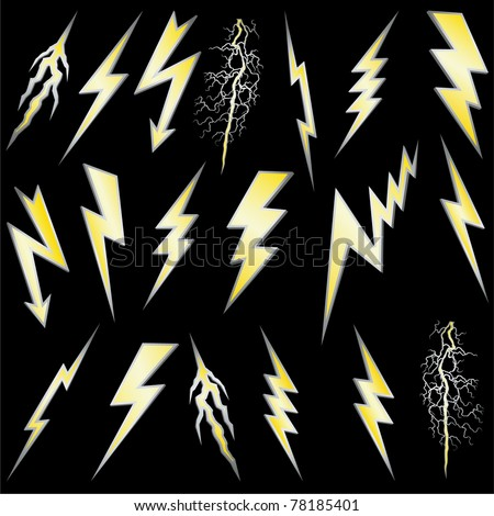Lightning bolt set. Gold lightning with silver border. Vector. - stock vector